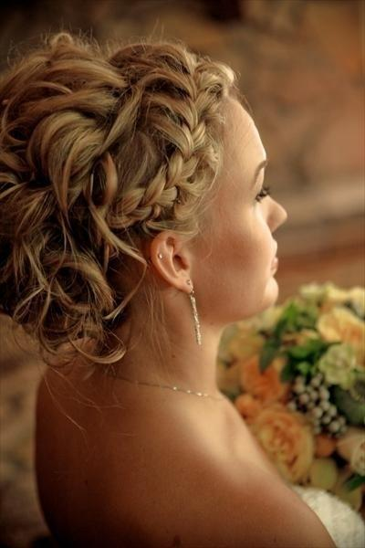 French Braid Wedding HairStyles  Wavy Wedidng Updo 804027  Weddbook