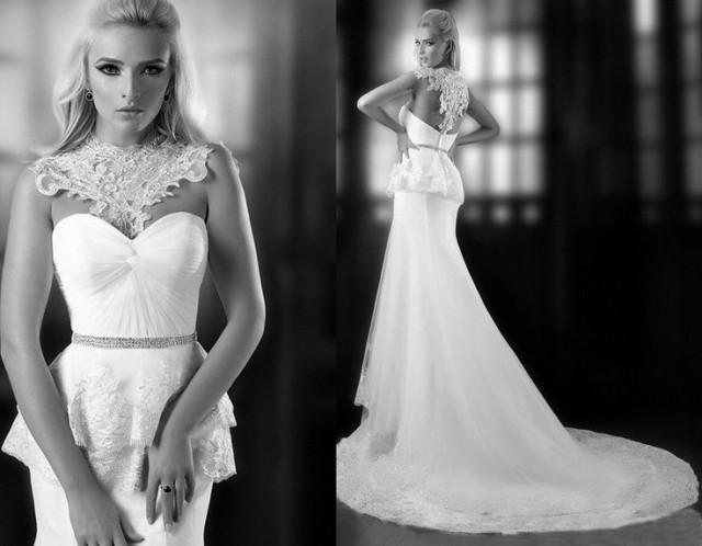 Mermaid Style Tulle Low Back Wedding Dress #2049961