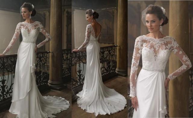 Round Neck Long Sleeve V Backless Lace Chiffon Elegant