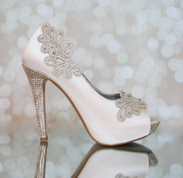 Blush Platform Shoes With Blush Lace Accents 2260784