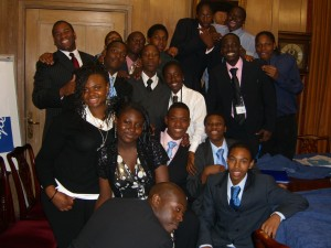 Students celebrate after a successful day at J.P. Morgan
