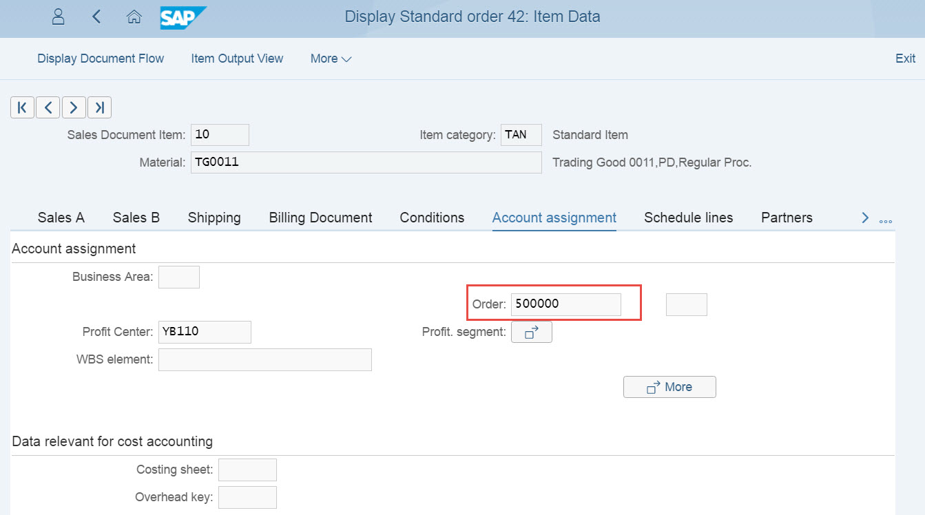 Fiori Internal Order Sales Order