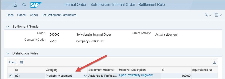 Fiori Internal Order Settlement Rule