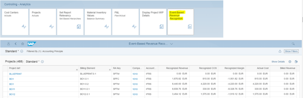 Event based Revenue Recognition App