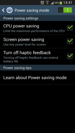Galaxy S4 Power Saving Mode Save Battery Life