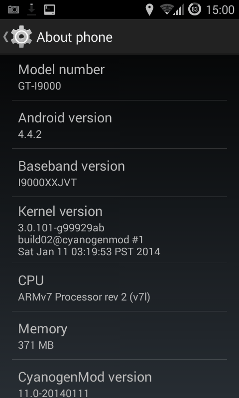 Android_4.4.2,_CyanogenMod_11_installed_on_Samsung_Galaxy_S_I9000