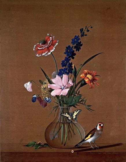Ф. П. Толстой. «Букет цветов, бабочка и птичка». 1820 год. Третьяковская галерея.