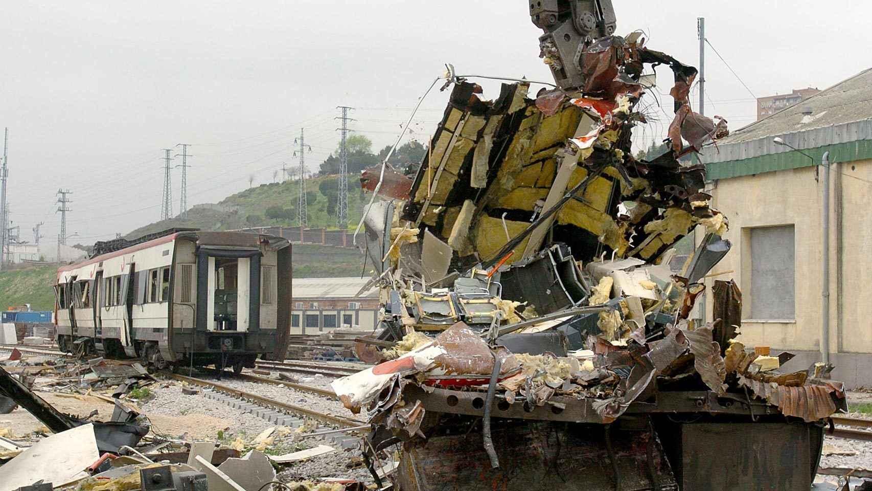 Uno de los vagones del tren de cercanías afectado por los atentados del 11-M.