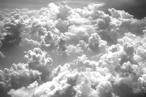 black and white cloud
