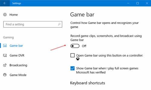 Disable Game Bar