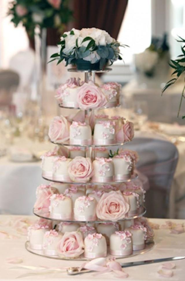 Wedding Cupcakes  Multi Tier Light Pink Wedding Cake