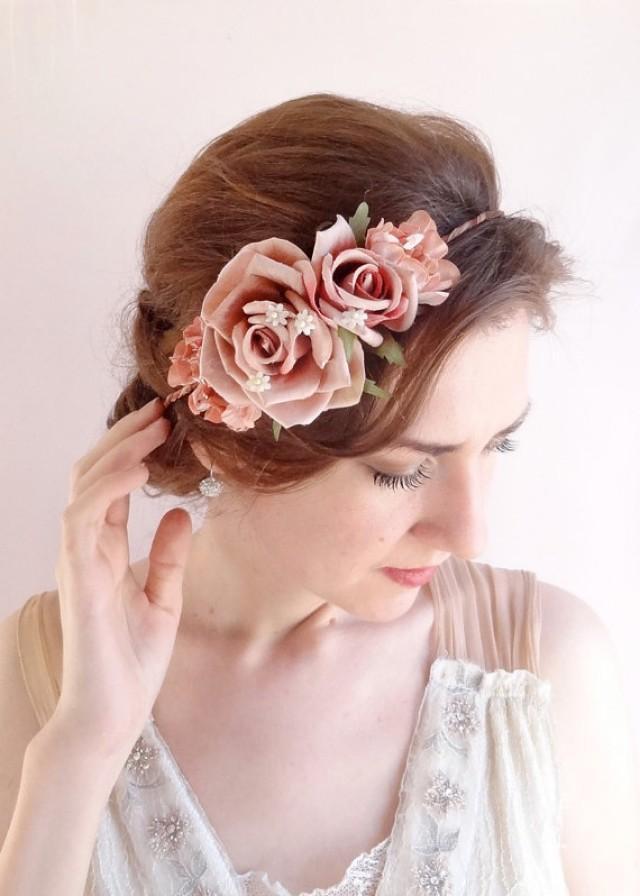 Vintage Style Floral Crown Dusty Pink Flower Crown