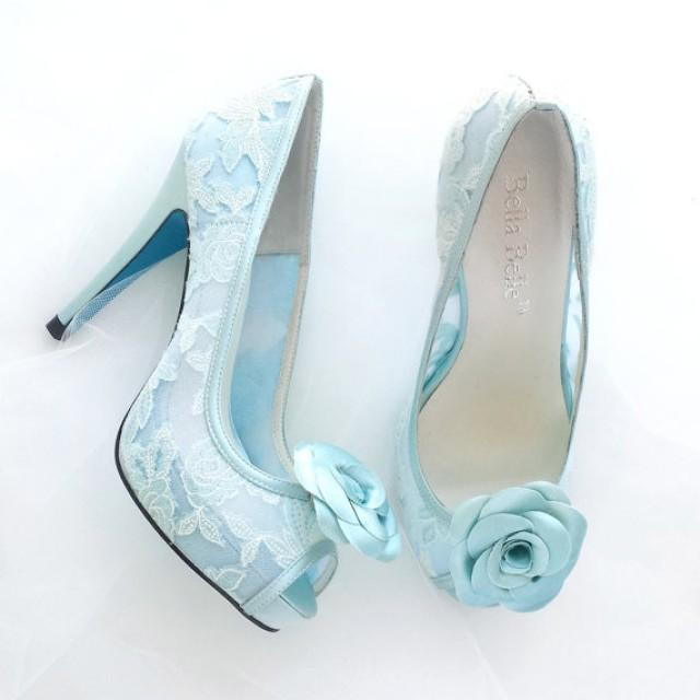 Something Blue Wedding Shoes Mint Floral Lace Peep Toe