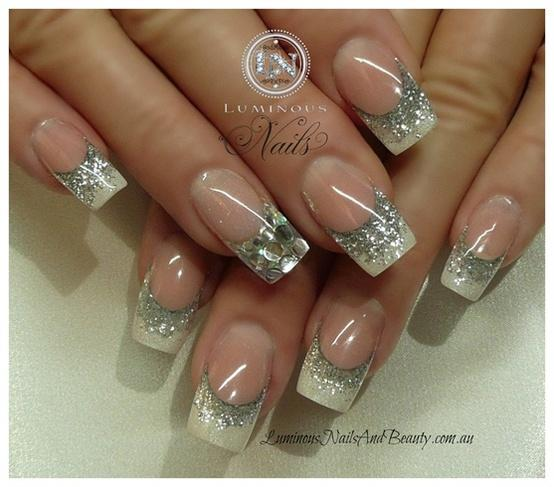 Geous Wedding Bridal Nail Art Design With Silver Glitter