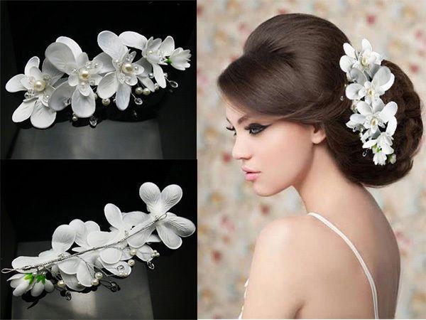elegant white orchid wedding headpeice