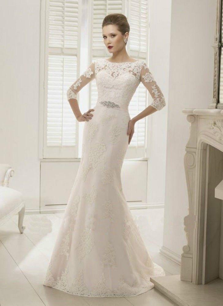 2014 High Lace Applique Wedding Fashion Slim European