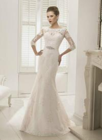 2014 High Lace Applique Wedding Fashion Slim European