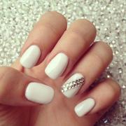 wedding nail design - white bling