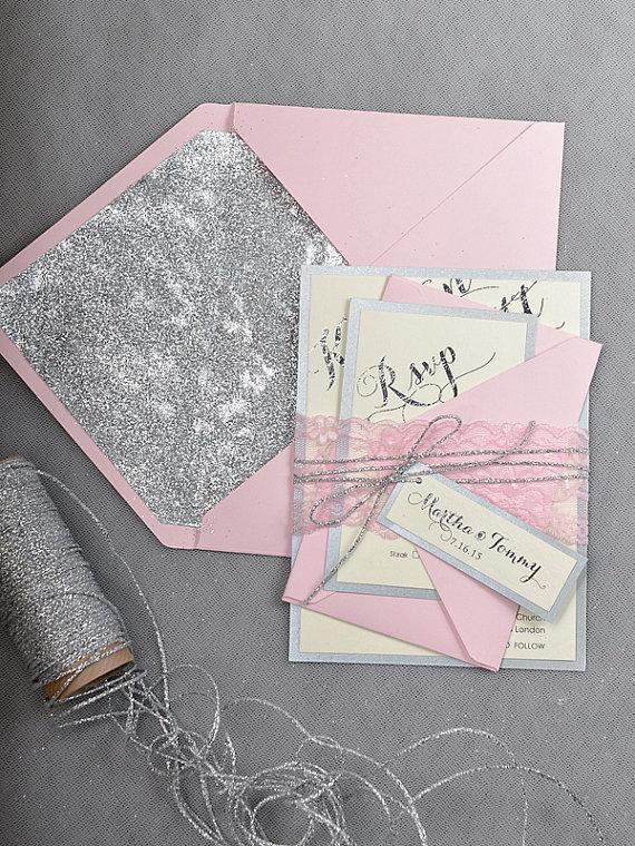 Custom Listing 20 Pink Silver Glitter Wedding Invitation Blush Invitations Lace Inviation New