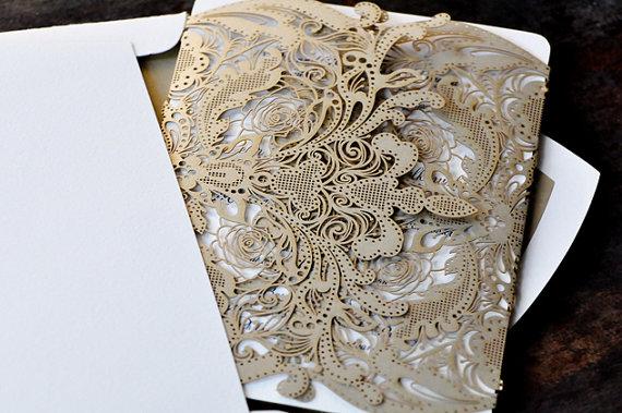 Black Great Gatsby Art Deco Wedding Invitations