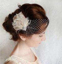Bridal Feather Hair Accessory - Rhinestone Hairpiece ...