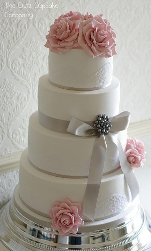 Wedding Cakes Pink And Dove Grey Wedding Cake 1987828