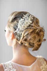 wedding lace head piece - pearl