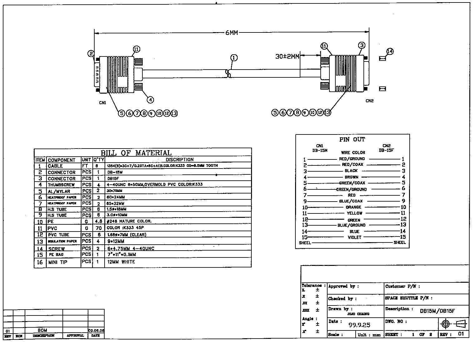 straight through serial cable wiring diagram brown bear cc382 100 100ft db15 male to female thru rgb