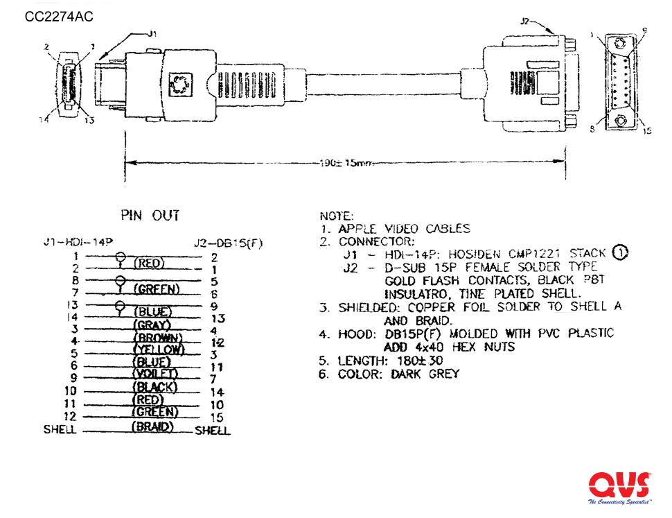 Obd2 To Hdmi Wiring Diagram Cc2274ac 7 Inches Hdi14 Male Powerbook To Macintosh Db15