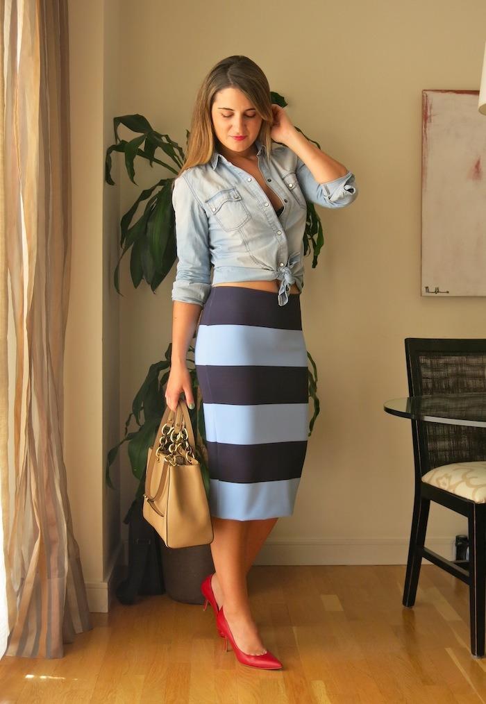 stripped skirt zara michael kors amaras la moda 5