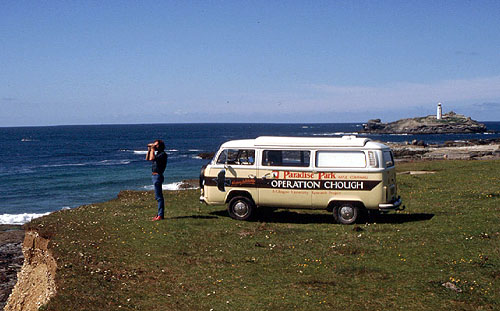 Richard Meyer and the Chough bus at Godrevy circa 1987.