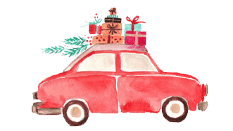 petite auto rouge plume et caramel