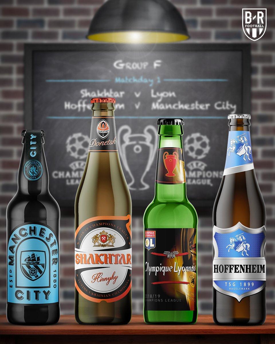 Все участники Лиги чемпионов в стиле пивных бутылок