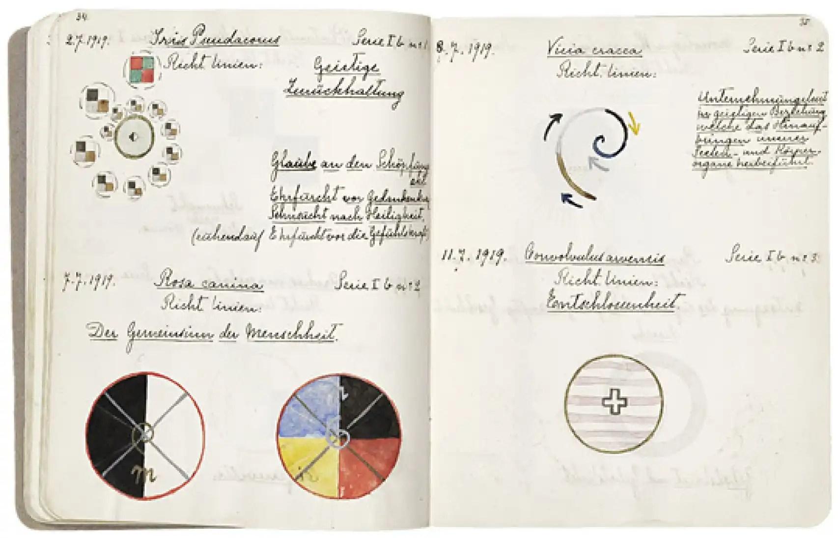 Cuaderno de trabajo de la artista Hilma Af Klint.