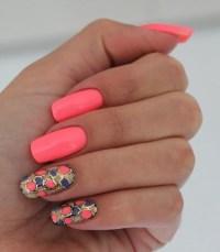 coral, coral nails, cute, fashion, girl, nail design ...