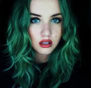 blue eyes colored hair girl