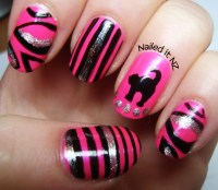 cat, hot pink, nail art, nail design