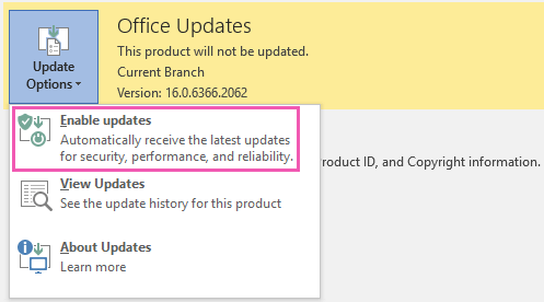 Excel 2016 and Office 365 enabling updates