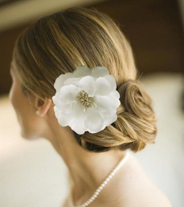 """4.4"""" Big White Bridal Hair Flower Clip Hair Band Brooch"""