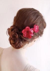 Raspberry Pink Hair Pins - Bright Pink Flower Hair ...