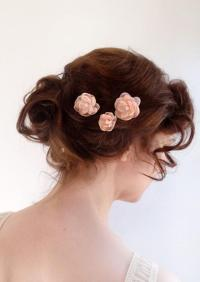 Blush Pink Hair Pins, Bridal Hair Piece, Wedding Hair