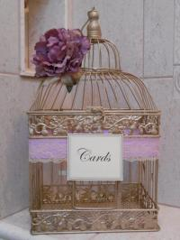 Gold Birdcage Wedding Card Holder / Card Box / Lavender ...