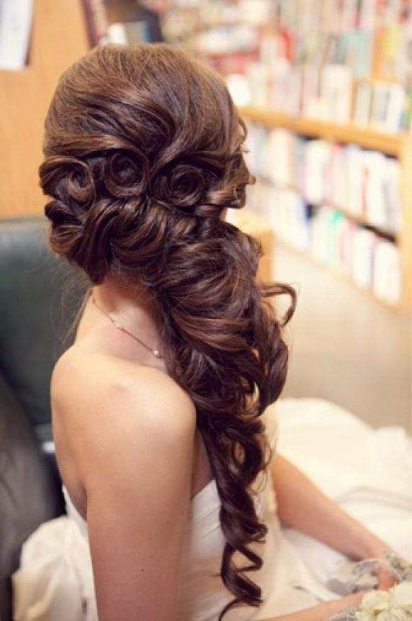 Gorgeous Long Wedding Hairstyle  Wavy Long And Side Swept Hairstyle 804053  Weddbook