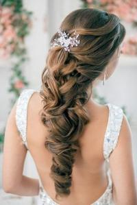 Half Up Half Down Curly Wedding Hairstyles With Silver ...
