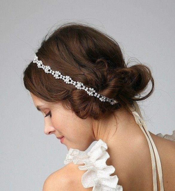 bridal hair accessories elegant satin ribbon with rhinestone headband tiara