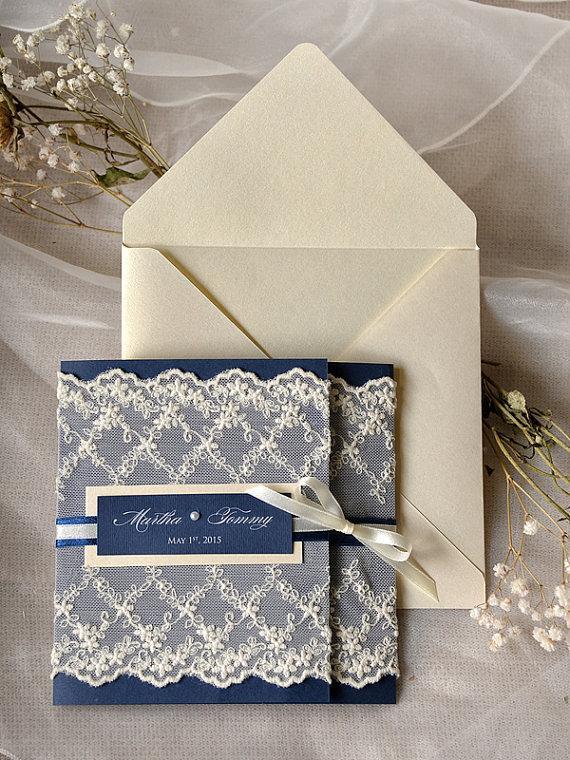 Lace Wedding Invitation Trend Vintage