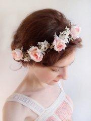 pink rose flower crown - bridal