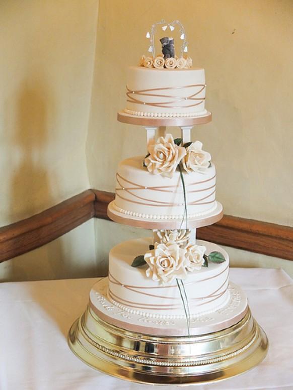 Ivory Wedding  Gold  Ivory Cake With Pillars 1987956
