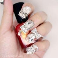 Japanese 3D Nail Art, Press On Nails, False Nails - Silver ...