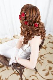 scarlet wedding - red bridal hairpiece